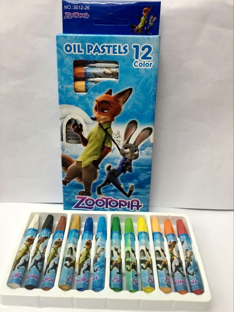 疯狂动物城zootopia狐尼克兔12色蜡笔无毒可水洗油画