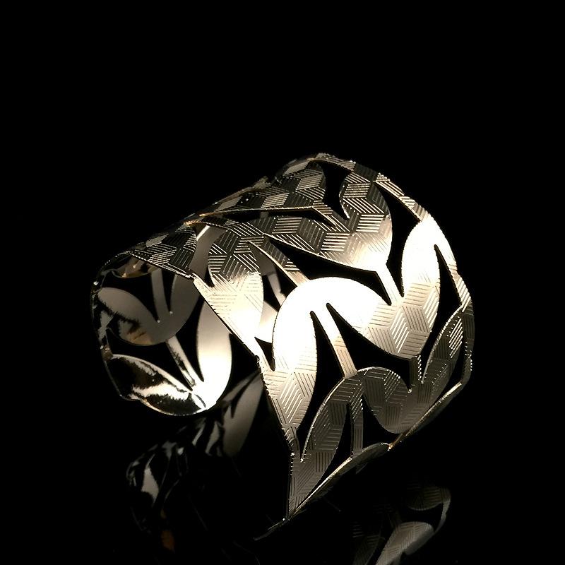 8666 2016新款欧美时尚个性夸张手镯 金属树叶镂空不规则开口臂环