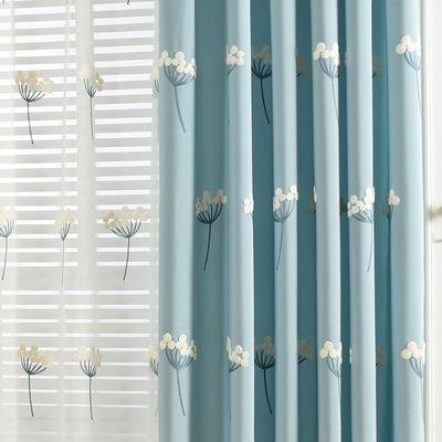 高档绣花窗帘_宜家清新窗帘蓝色粉色卧室客厅高档