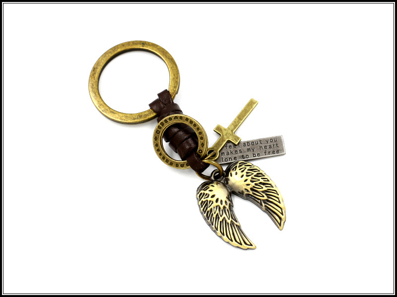Skull Rose Keyring Retro Angel Wings Couple Keychain Student Accessories Wholesale NHHM194443