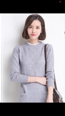 冬季中长款毛衣 荷叶花边领套头毛衣针织衫女