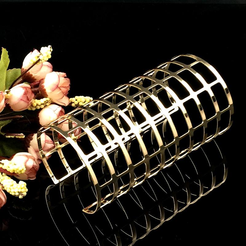 欧美时尚个性开口高品质镂空臂环 电镀金色宽手镯 外贸热销饰品