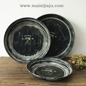麦西家居欧式复古圆形铁艺托盘黑色创意水果盘饮料手