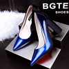 Europe and the new thin pointed shoes with thick shallow mouth Shoes Sexy spell color high-heeled shoes shoes OL