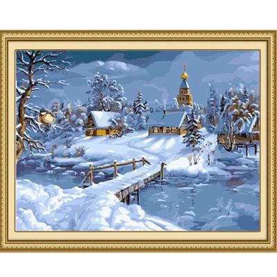 厂家批发雪景40x50cm新款数字油画diy手绘风景欧式客厅装饰油画
