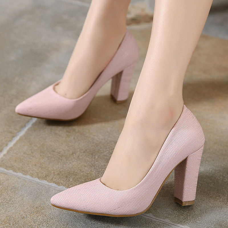 2016 new spring shoes with coarse pointed shoes with thick all-match occupation work shoes color high-heeled shoes women's main photo