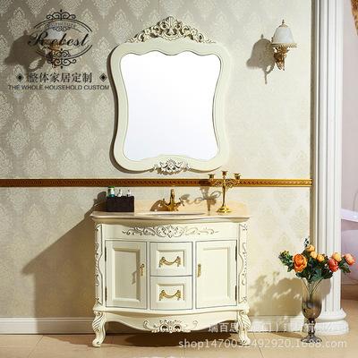 非标定制欧式仿古浴室柜落地实木浴室柜大理石台面