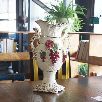 欧式陶瓷花瓶_创意陶瓷花瓶白色摆件落地客厅简约
