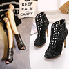 The spring and summer of 2016 European and American fashion black heels with a fine hollow Rome fish mouth 11cm sexy san