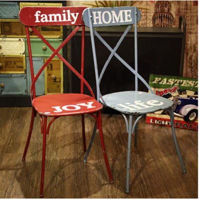 咖啡厅椅子_工业风铁艺铁片椅欧式loft咖啡厅酒吧