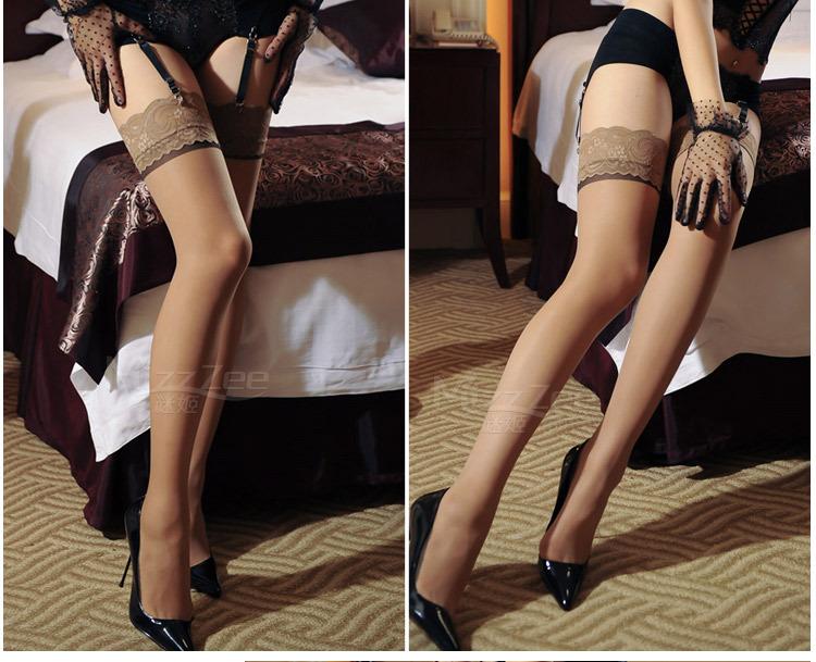 蕾丝花边长筒袜_mizz 复古竖线丝袜性感蕾丝花边长筒