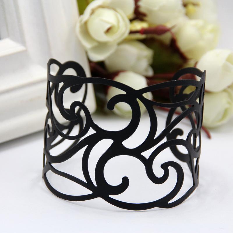 2016高品质欧美时尚黑色手镯 优质金属合金电镀镂空开口女士臂环