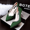 Korean fashion pointed simple and comfortable shoes with high heels fine shallow mouth OL occupation thin female high-he