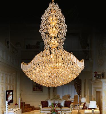 别墅灯具_复式楼客厅水晶大吊灯led灯欧式楼中楼别墅