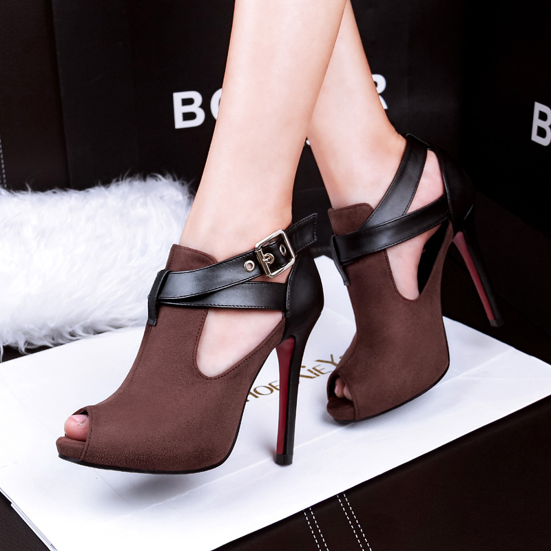 Fashion sexy new suede belt buckle fish mouth shoes with deep fine high-heeled shoes nightclub's main photo