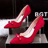 By dress shoes pointed toe SUEDE SIZE 34-39 3 colors Korean fashion new cusp high-heeled shoes suede shallow mouth is fi