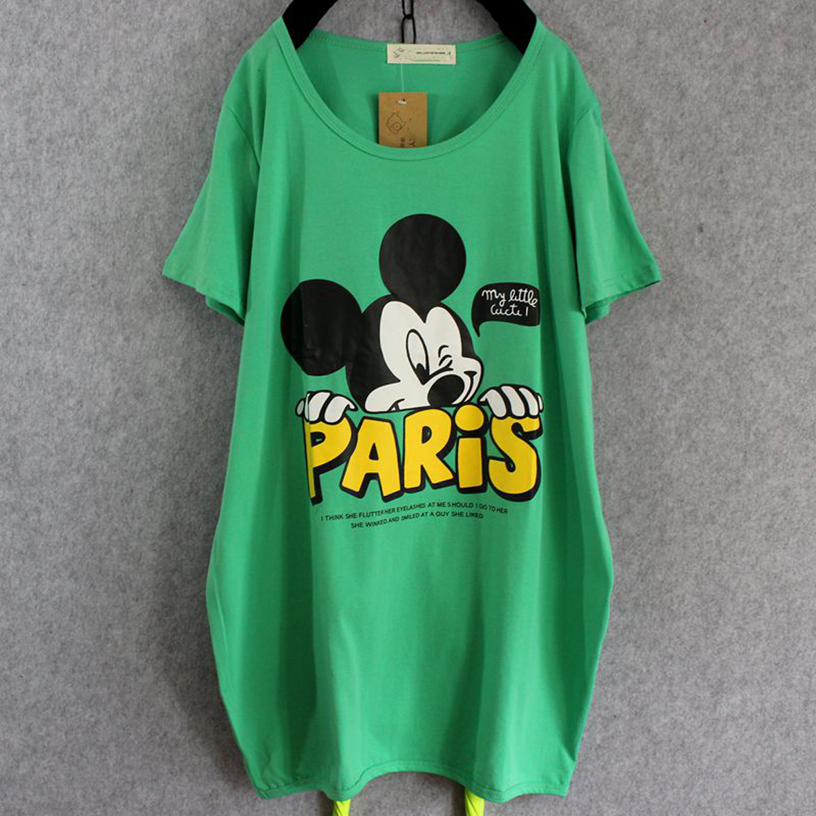 夏裝新品女士短袖t恤大碼女裝胖mm亮色T恤寬松型中長款打底衫