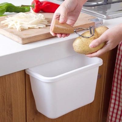 创意多功能厨房垃圾储物盒橱柜门挂式杂物桌面塑料大号垃圾桶图片