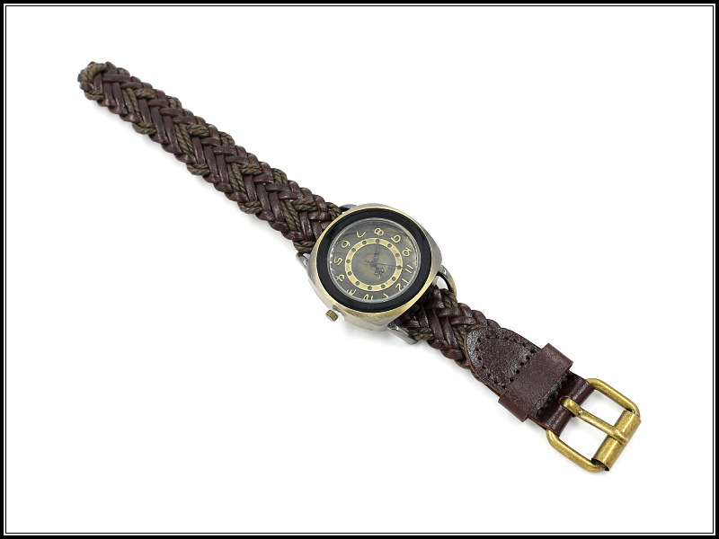 Casual Woven Cowhide Bracelet Watch Retro Header Fashion Exaggerated Quartz Watch NHHM194386