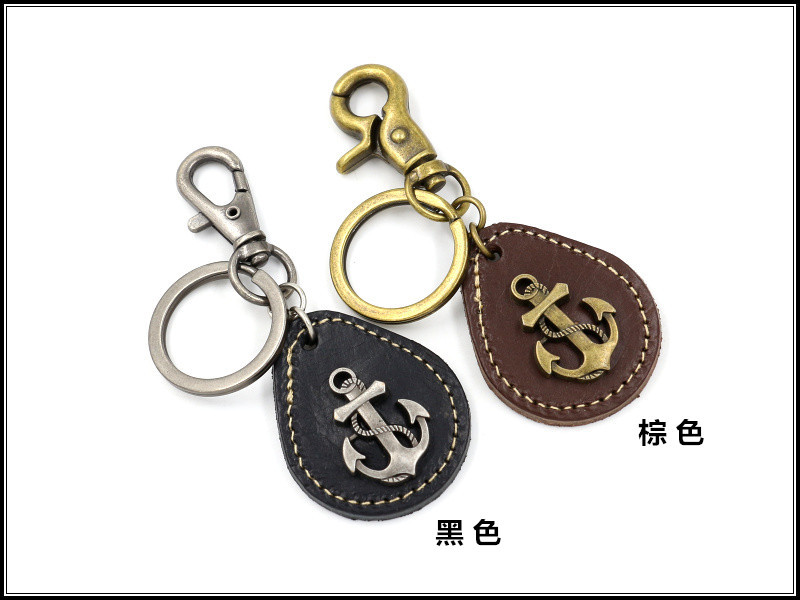 Anchor leather keychain men and women creative small gift leather key ring small pendant NHHM194493