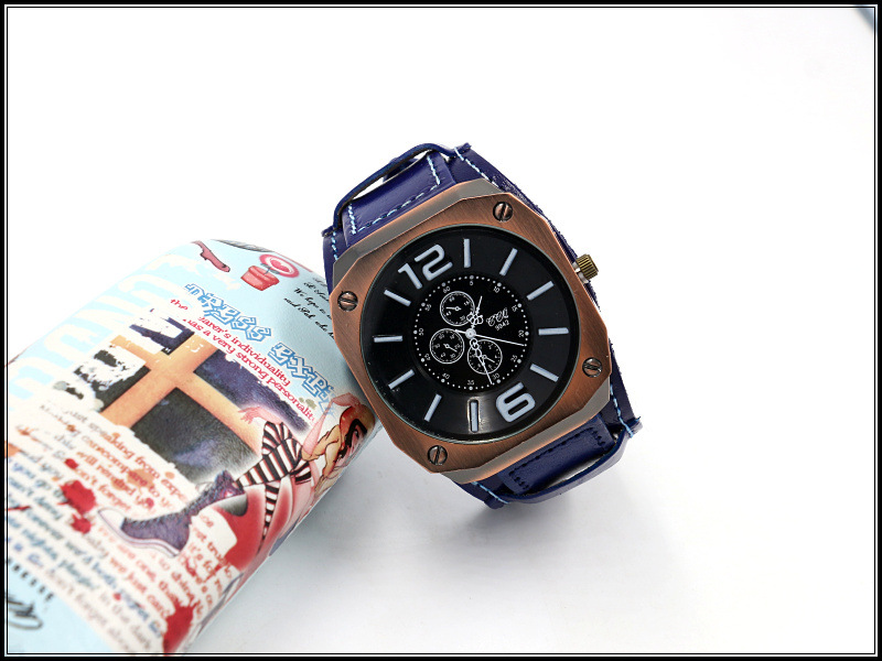 Large Dial Men's Watch Leather Punk Fashion Women's Leather Watch NHHM194387