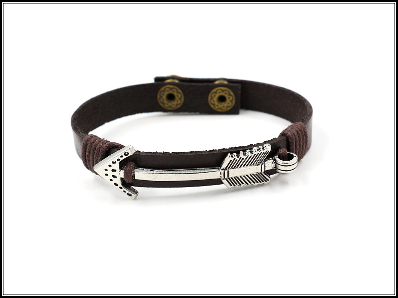Men's Bracelet Arrow Day Couple Bracelet Snap Button Woven Leather Rope Student Jewelry Gift NHHM195666