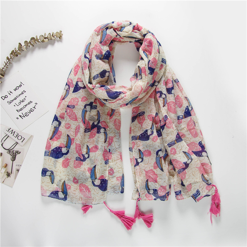 Blue powder age reduction childlike = pelican cotton and linen scarf shawl female summer sunscreen scarf NHGD182220