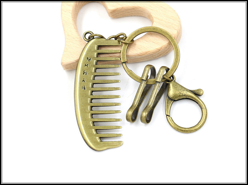 Vintage zinc alloy comb metal key ring comb key ring luggage pendant gift NHHM194391