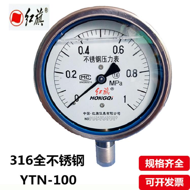 IP65可定制红旗高防腐螺纹全不锈钢316耐震抗震水油压力表YN100BF