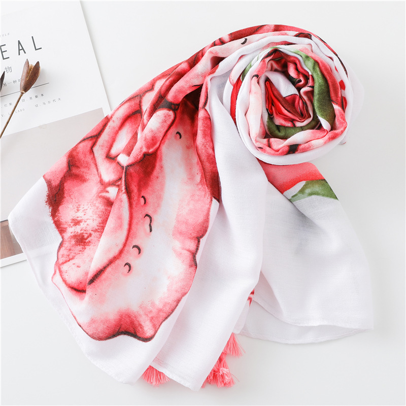 Scarf female cotton and linen hand scarf red rose tassel scarf sunscreen shawl NHGD180133