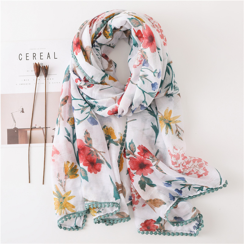 Lace wool ball lace cotton and linen scarf boho scarf NHGD182173