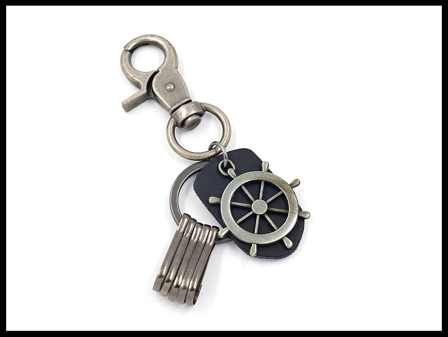 Vintage cowhide keychain multipurpose alloy anchor pendant accessory NHHM194455