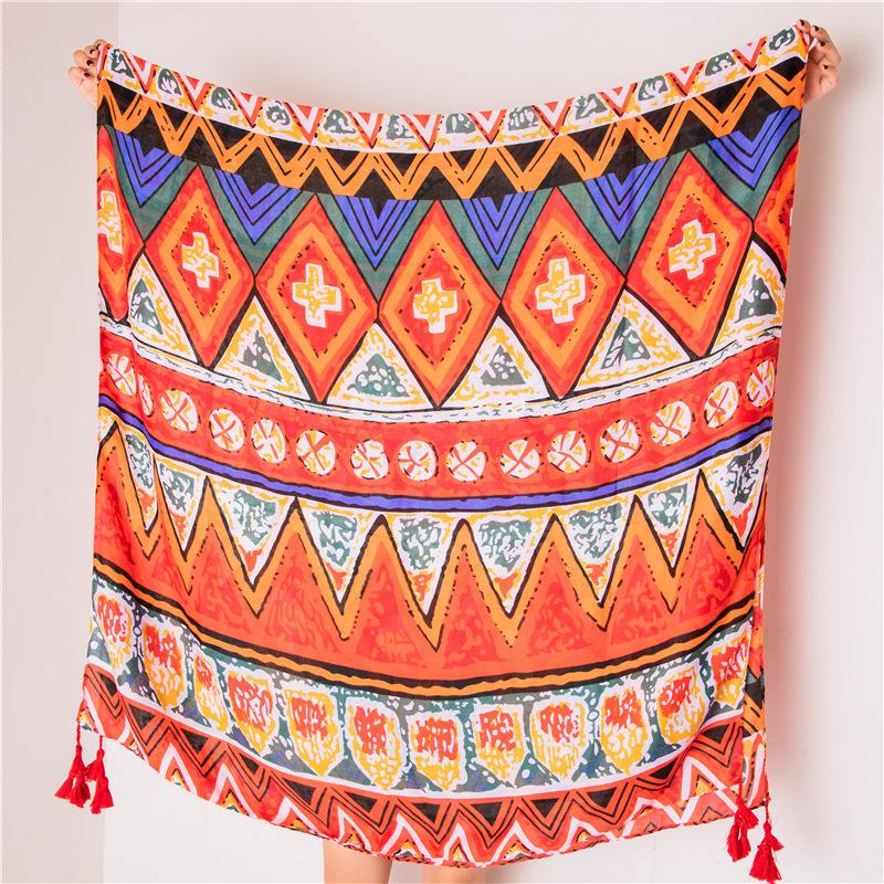 Scarf female silk scarf color geometric cotton beach towel sunscreen shawl NHGD180083
