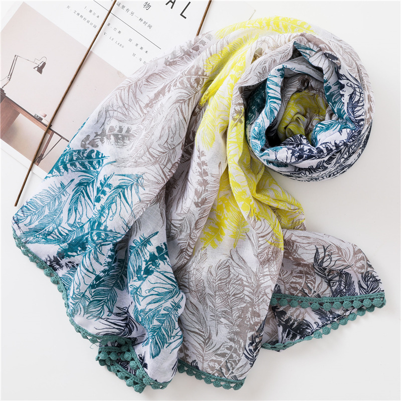 Feather pattern cotton and linen scarf female oversized shawl dual-use thin air-conditioning scarf NHGD182152