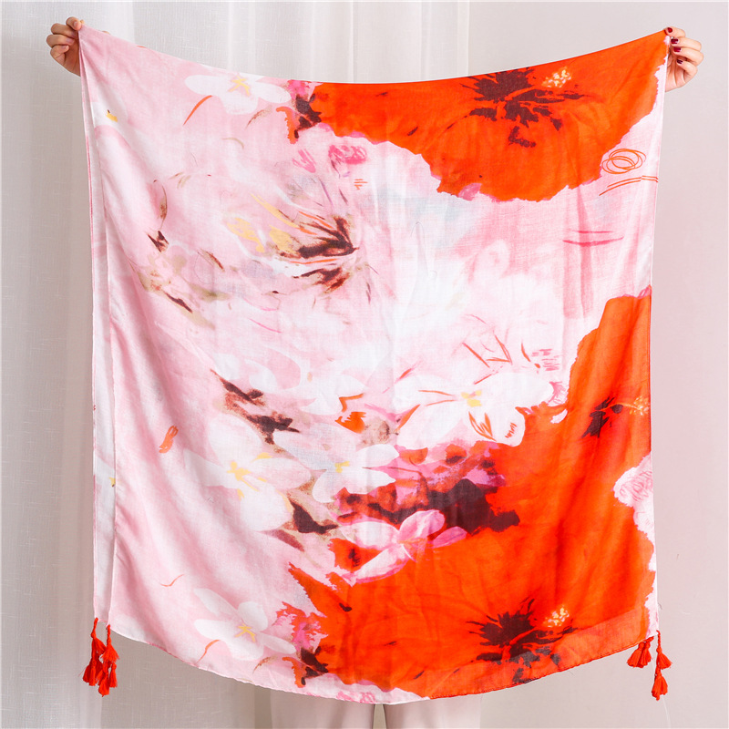 Women's cotton and linen feel ink painting smudge scarf gradient sunscreen shawl NHGD182155