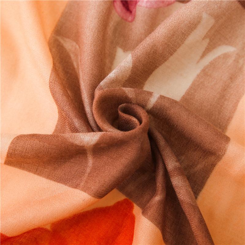 Bufanda estilo de pintura al óleo femenina representación de color estampado de flores super gran borla mantón de seda bufanda NHGD175778