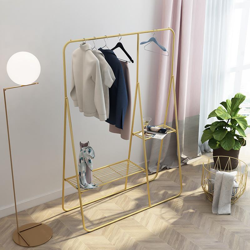 北欧创意铁艺服装架高档婚纱店服装展示架居家卧室收纳落地服装架