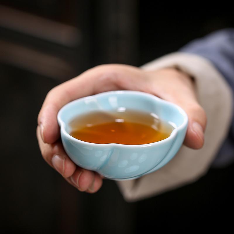 苏氏陶瓷青瓷窑变浮雕主人杯品茗杯茶碗单杯礼盒装定制 功夫茶杯