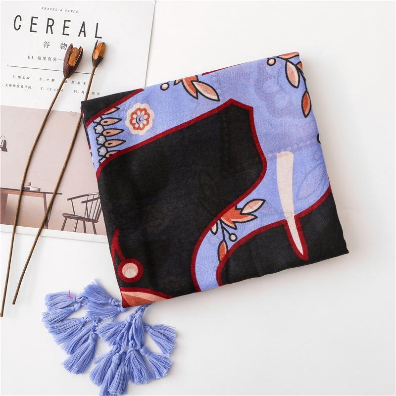 Nuevo pañuelo infantil de elefante mantón de algodón y lino con flecos femeninos NHGD182201