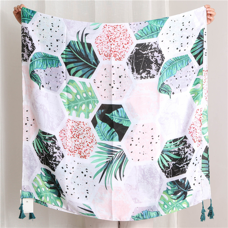 Diamond-shaped tropical green leaf print shawl wholesales fashion  NHGD182210