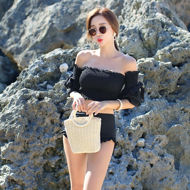 New black fashion sexy slim thin high waist conservative ladies split swimsuit NHHL200068