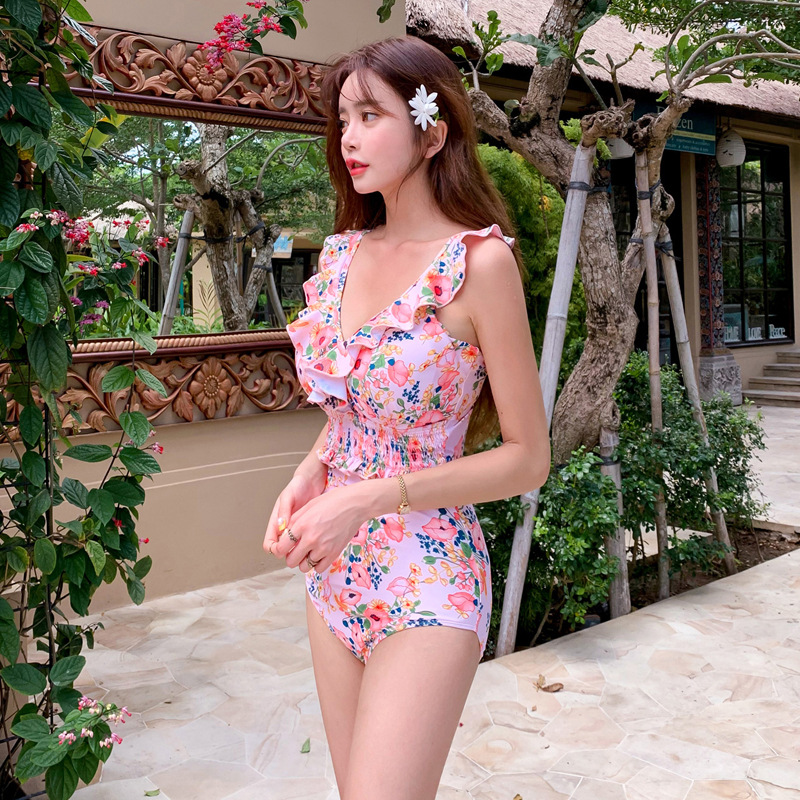 New onepiece triangle small chest cover belly hot spring swimsuit women NHHL204933