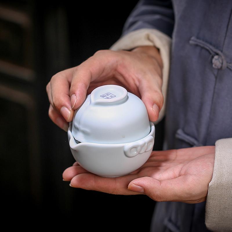 便携式旅行茶具 唐装窑变快客杯单人泡茶器功夫茶具套装logo定制
