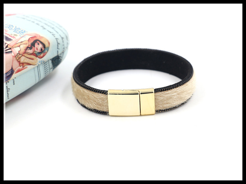 Jewelry new color horse hair metal chain bracelet female gold magnetic buckle faux leather bracelet NHHM194379