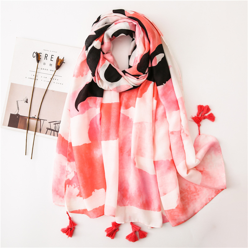 Pink letter marshmallow fashion cotton scarf sunscreen shawl scarves NHGD180098
