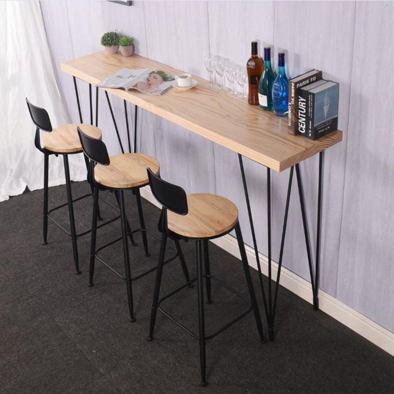 北欧实木长条吧台桌酒吧奶茶店吧台桌椅组合现代小户型靠墙吧台桌