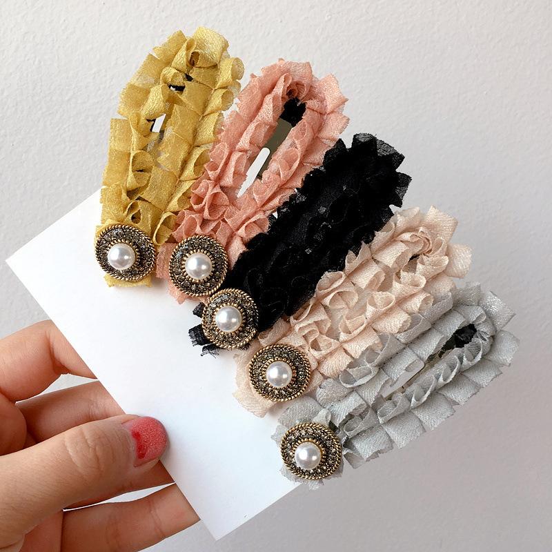 New Korean simple fold fabric drop pearl cheap hairpin wholesale NHHI207385