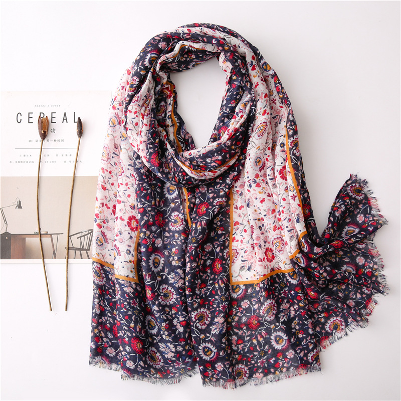 New cotton and linen soft scarf floral print silk scarf sun shawl wholesale NHGD197364