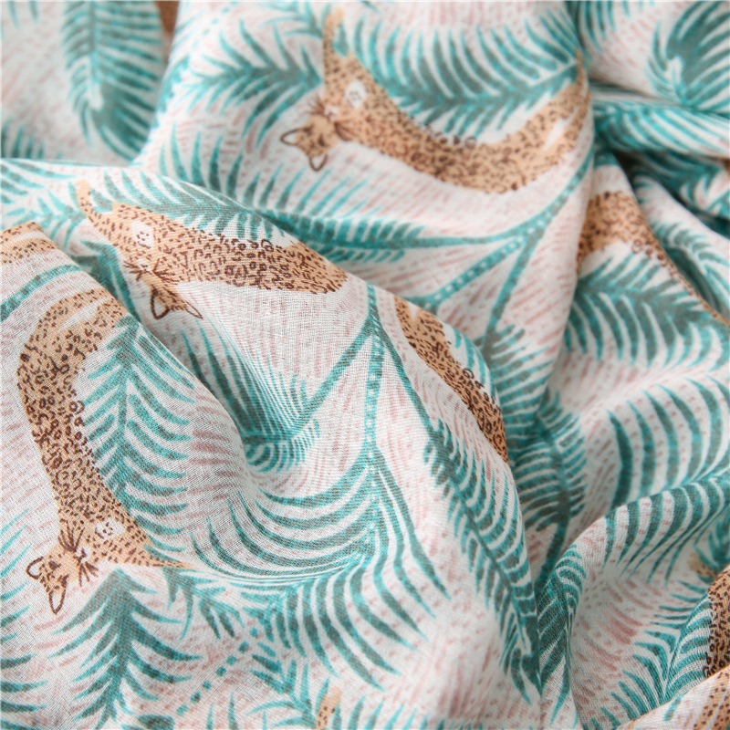 New tropical plant leopard cotton and linen shawl scarf women dual-use sunscreen scarf scarf beach towel NHGD197360
