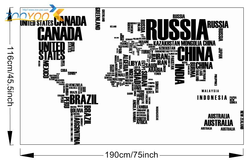 Large World Map in Words Removable Vinyl Wall Sticker Decal Mural Home Decor